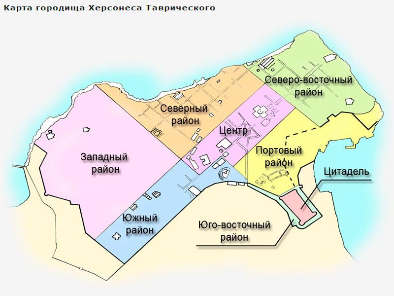 Схематическая карта заповедника Херсонес Таврический в Крыму