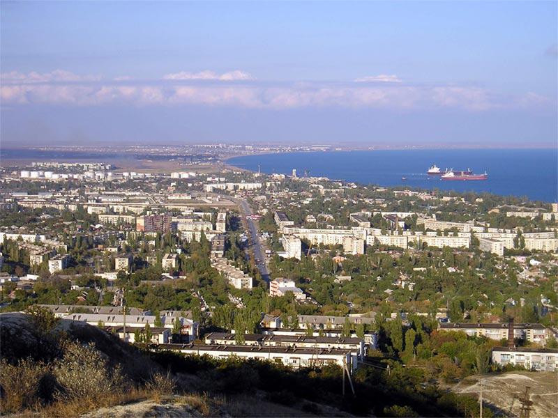 Панорамный вид города Феодосия с высоты